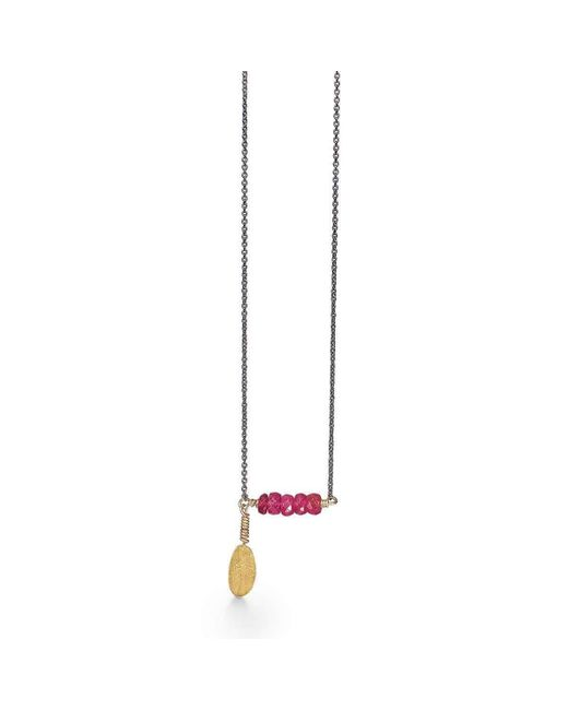 Bergsoe - Metallic Gold & Ruby Leaf Necklace | - Lyst