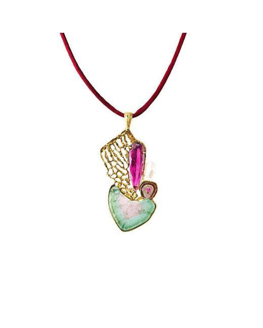 Jaime Moreno Designer Jewelry - Multicolor Yellow Gold, Tourmaline & Pearl Amor Deconstruido Necklace   Jaime Moreno - Lyst