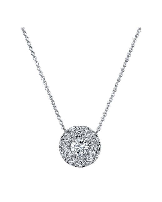 Harry Kotlar - Metallic Round Diamond Solitaire Bloom Artisan Pave Necklace - Lyst