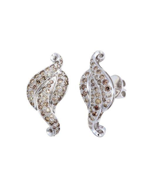 Aara Designer Jewelry - Metallic 18kt White Gold & Champagne Diamond Royal Leaf Stud Earrings - Lyst