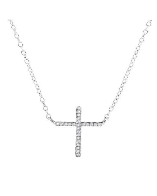 Cosanuova - Metallic Diamond Cross Necklace In White Gold - Lyst