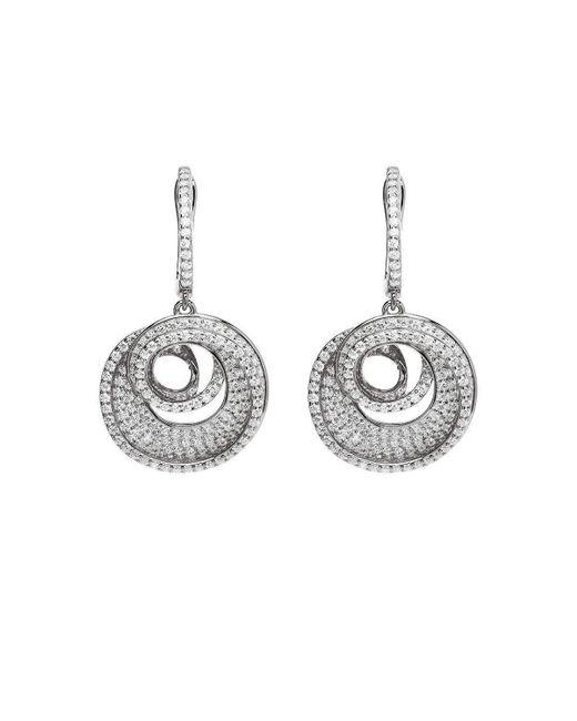 Lustre of London - Metallic White Spiral Drop Earrings - Lyst