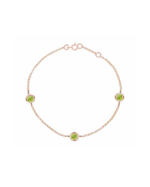 London Road Jewellery - Metallic Stylish Rose Gold Peridot Dew Drop Bracelet - Lyst