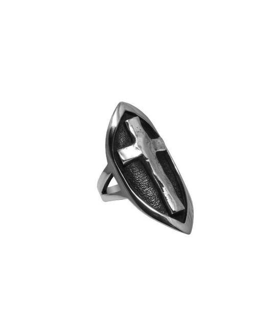 Luke Goldsmith   Metallic Silver Sheild And Cross Ring   Lyst
