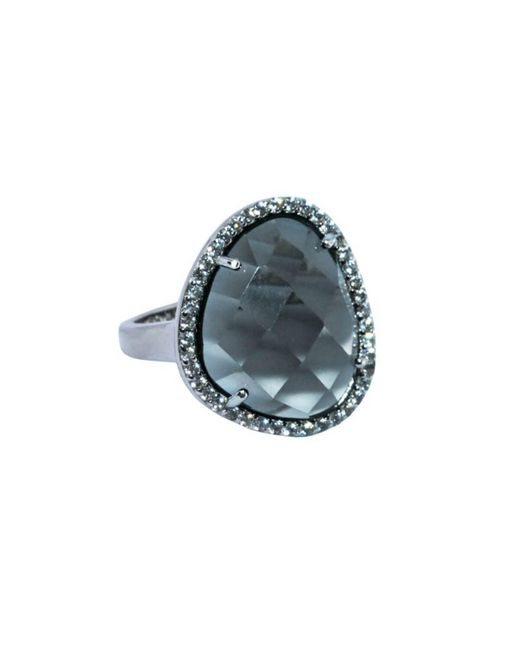 Shimmer by Cindy Gray Rhodium Plated Abstract Halo Cocktail Ring With Grey Glass Stone