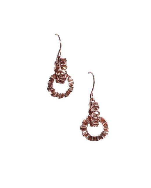 Karen Fox   Metallic Rose Gold Circle Ruffle Link Earrings   Lyst