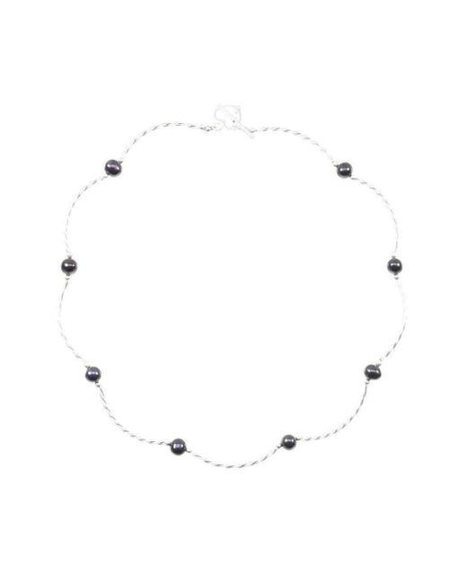 Lily Blanche - Metallic Twist Midnight Pearl Necklace - Lyst