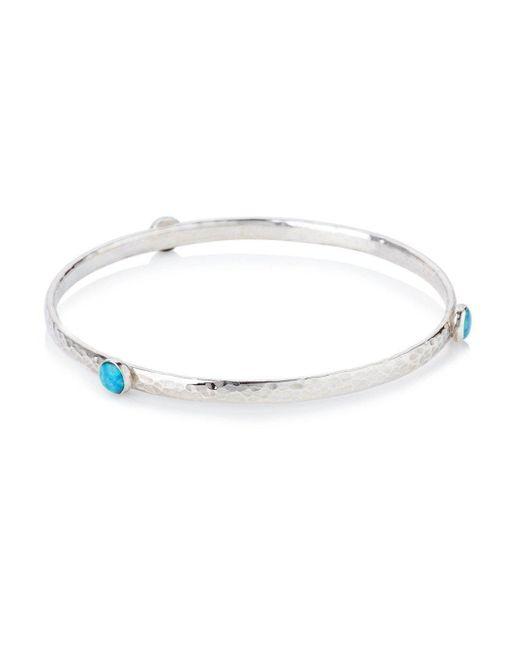 Lavan - Metallic Sterling Silver Opal Bangle Set With 6 Mm Stones - Lyst