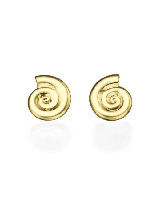 Ayalla Joseph - Metallic Shells Earrings Yellow Gold With Diamonds - Lyst