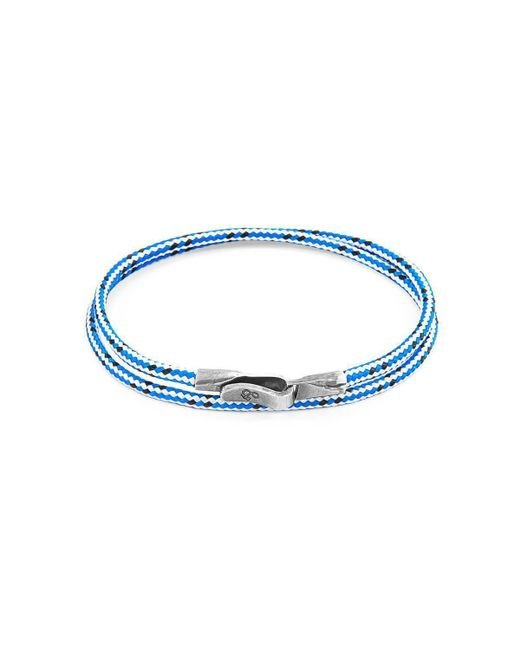 Anchor & Crew - Multicolor Blue Dash Liverpool Silver And Rope Bracelet - Lyst