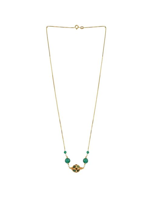M's Gems by Mamta Valrani - Metallic Princess Chain With Green Jade And Beads - Lyst