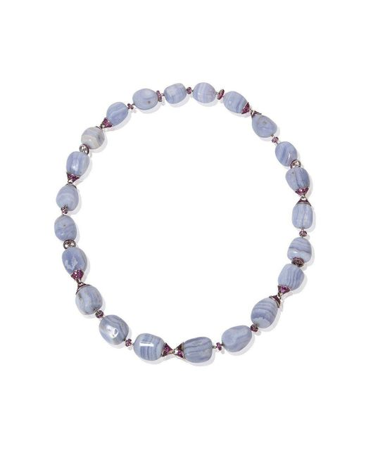 Mara Hotung - Metallic Chalcedony & Pink Sapphire Necklace - 18kt Black And White Gold - Lyst