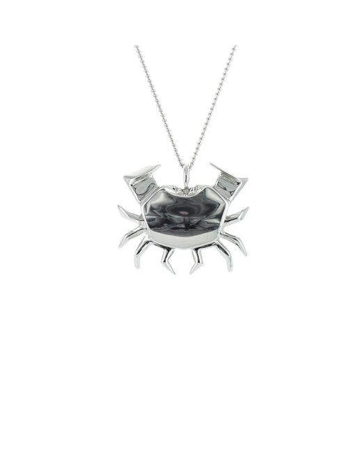 Origami Jewellery - Metallic Crab Silver Necklace - Lyst