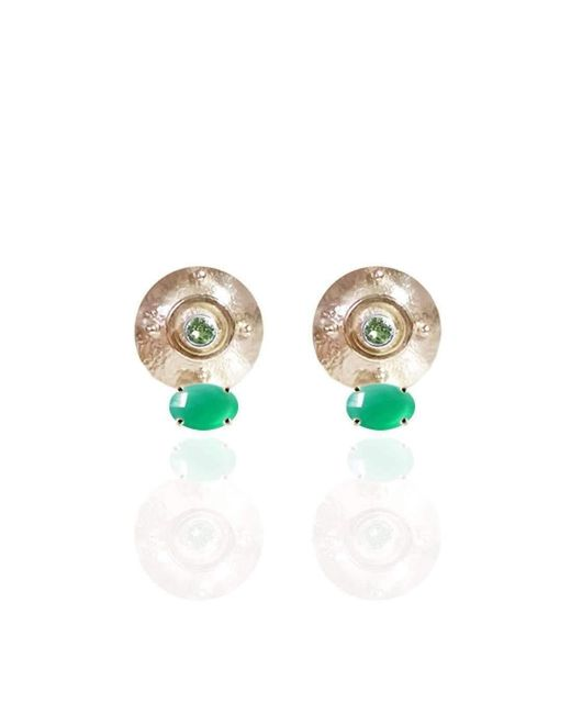 Jane North - Multicolor Targe Stud Earrings In 18kt Yellow Gold Vermeil With Green Onyx And Peridot - Lyst