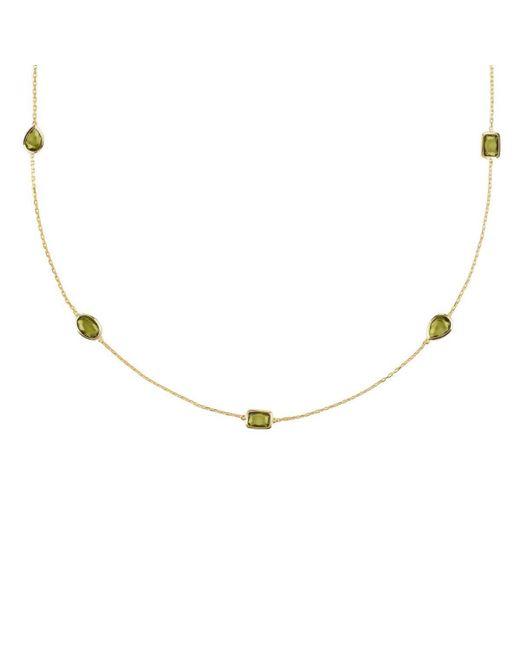 Latelita London - Metallic Venice Long Chain Necklace Gold Peridot - Lyst