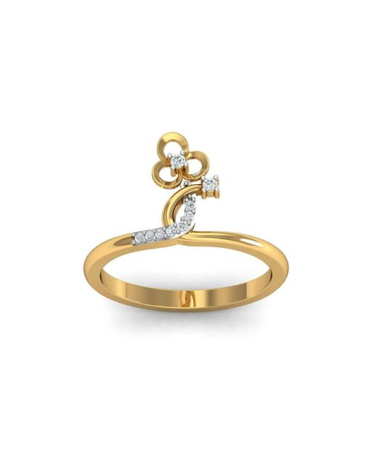 Diamoire Jewels - Metallic 18kt Yellow Gold Pave 0.07ct Diamond Infinity Ring V - Lyst