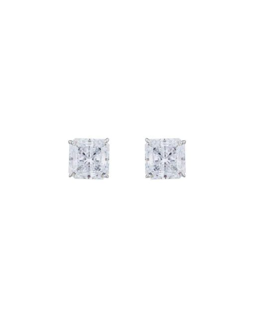 Fantasia by Deserio - Multicolor 14kt White Gold 5ct Princess Stud Earrings - Lyst