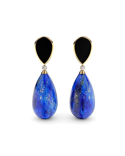 MARCELLO RICCIO Black Gold Plated Silver, Lapis Lazuli, Agate & Diamond Earrings