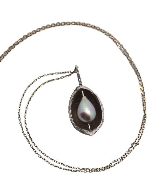 Lainey Papageorge Designs   Metallic Hickory Nutshell And Pearl Pendant   Lyst