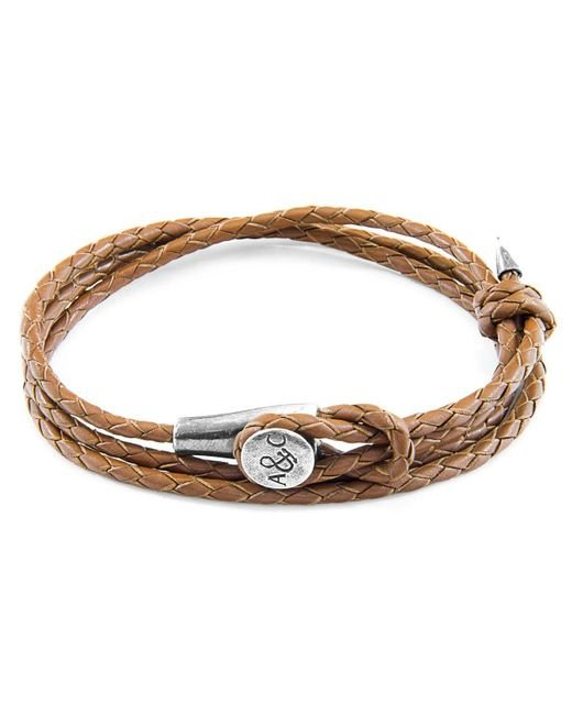 Anchor & Crew Light Brown Dundee Silver And Braided Leather Bracelet