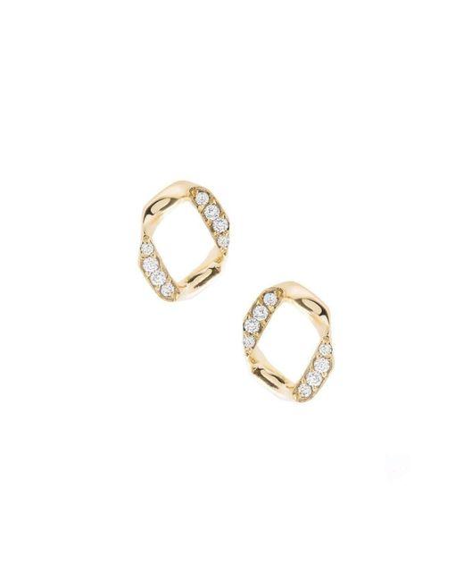 Joanna Laura Constantine   Metallic Link Pave Stud Earrings   Lyst