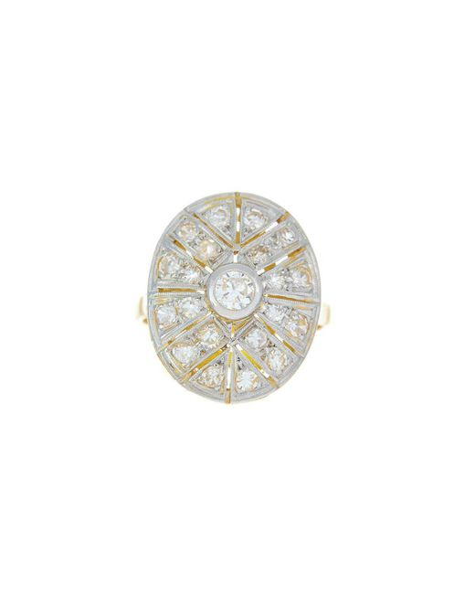 Alexis Danielle Jewelry | Metallic Original Art Deco Diamond Platinum 18kt Yellow Gold Ring | Lyst