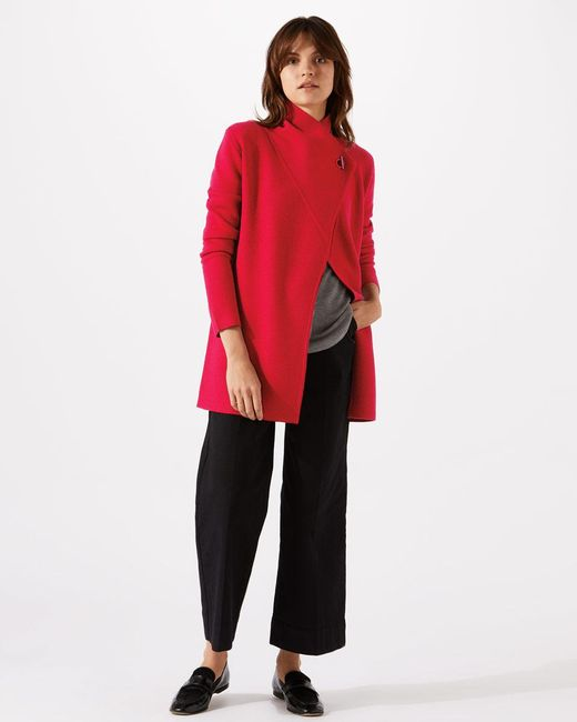 Jigsaw - Red Ring Fastening Pique Cardigan - Lyst