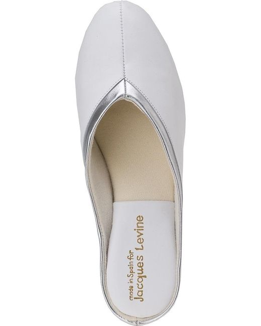 bfc2bc5657843d ... Jacques Levine - 4640 Slipper Sliver white Leather - Lyst ...