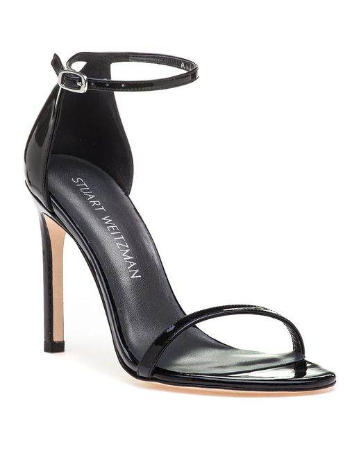 Stuart Weitzman | Nudistsong Black Patent Leather Sandal | Lyst