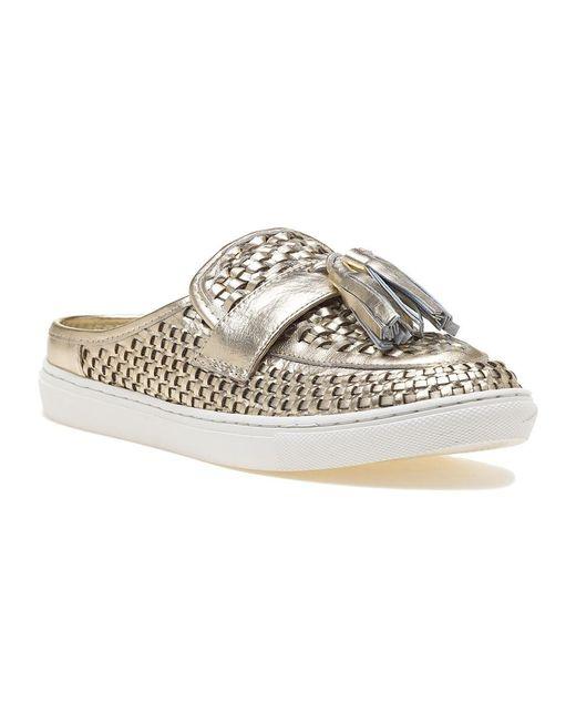 J/Slides - Metallic Carissa Platino Leather Slide - Lyst