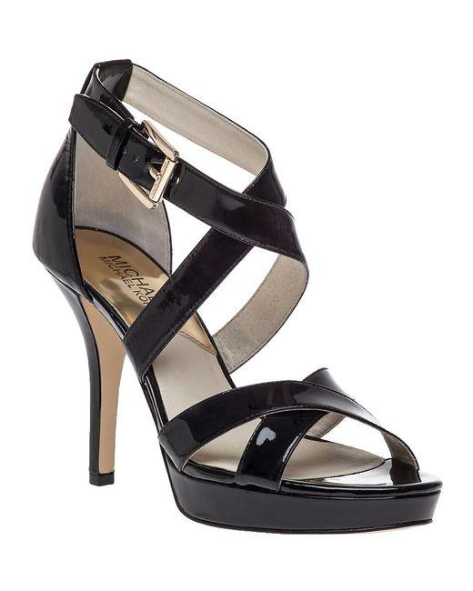 MICHAEL Michael Kors - Evie Platform Sandal Black Patent - Lyst