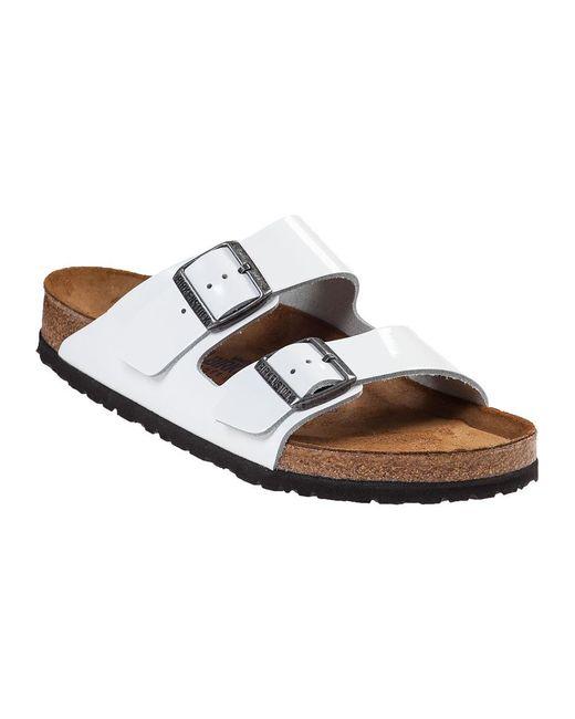 Birkenstock | Arizona Slide Sandal White Patent | Lyst