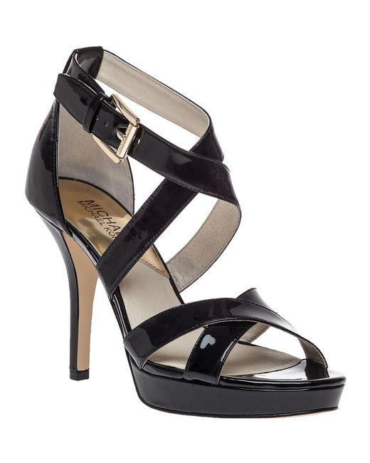 MICHAEL Michael Kors | Evie Platform Sandal Black Patent | Lyst