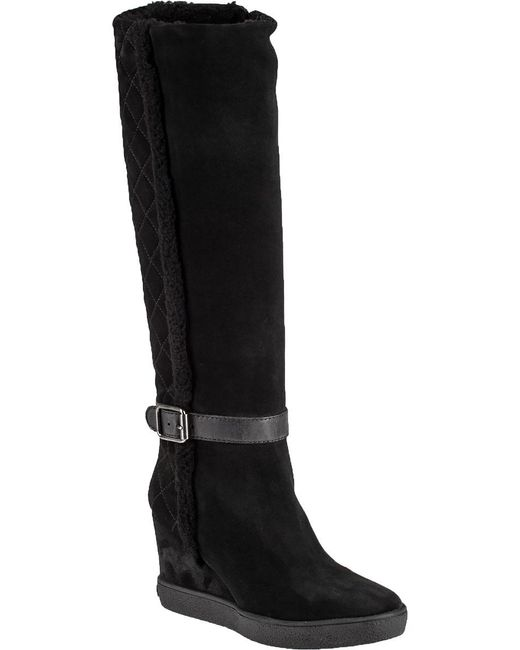 Aquatalia   Black Callie Suede Wedge Knee-High Boots   Lyst