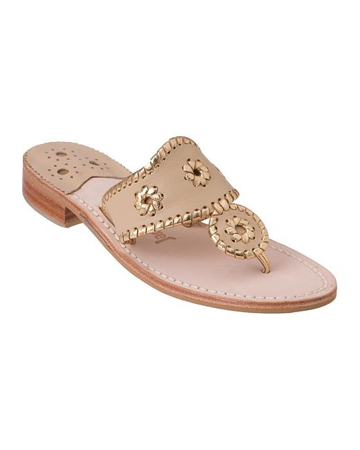 Jack Rogers | Metallic Nantucket Gold Thong Sandal Gold/camel Leather | Lyst