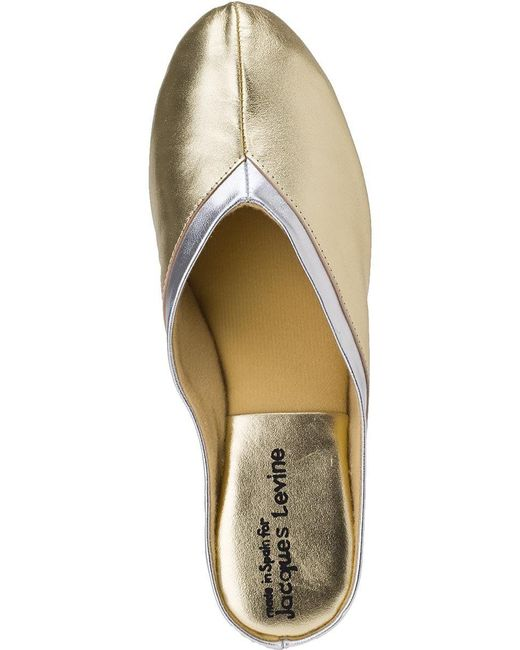 a0df9e60c75cc3 Lyst - Jacques Levine 4640 Slipper Gold Leather in Metallic - Save 4%