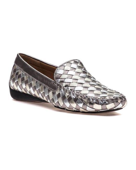 Robert Zur | Metallic Venetian Antique Silver Combo Loafer | Lyst