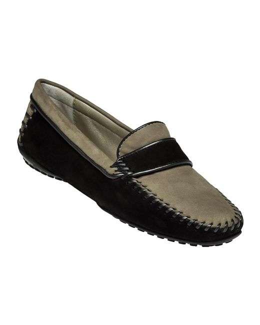 Robert Zur | Black Accent Two-Toned Suede Driving Loafers | Lyst