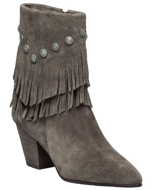 Belle By Sigerson Morrison | Gray Yardley Vigona Fringed Suede Ankle Boots | Lyst