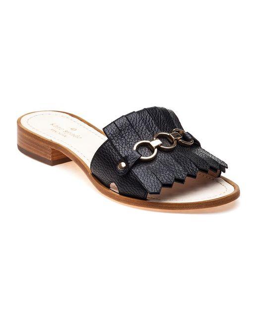 Kate Spade   Brie Black Tumbled Leather Kiltie Slide Sandal   Lyst