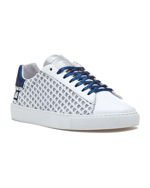 9e98ab4cd221 Date Newman Sneaker Glitter White-blue Leather in White - Lyst