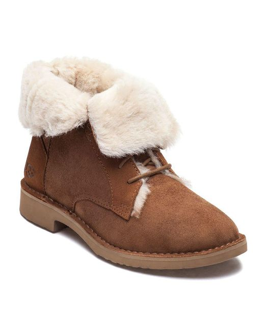 Ugg - Brown Quincy Chestnut Suede Lace Up Boot - Lyst ...