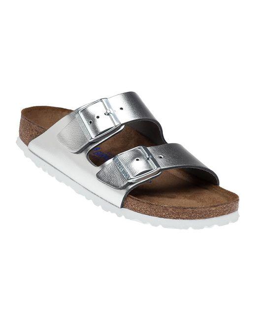 birkenstock arizona metallic leather sandals in metallic. Black Bedroom Furniture Sets. Home Design Ideas