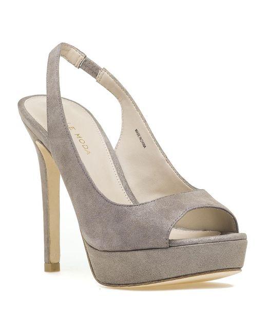 Pelle Moda - Multicolor Oana Slingback Platform Sandal Taupe Shimmer Suede - Lyst