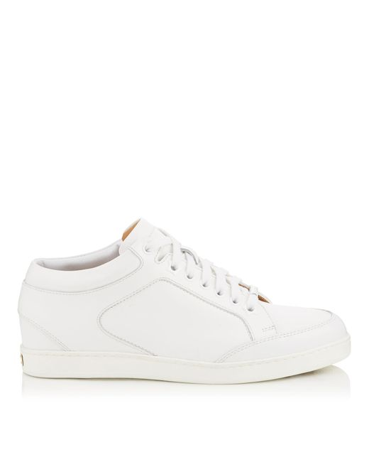 Miami Baskets Basses En Cuir De Veau Jimmy Choo en coloris White