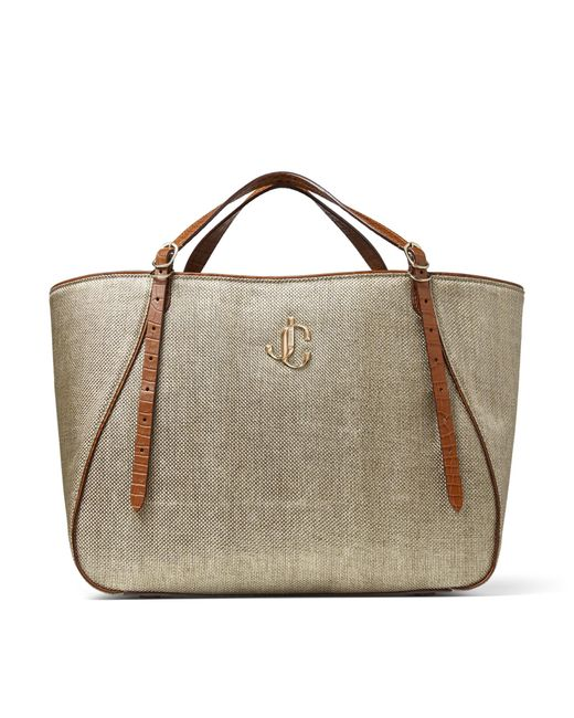Jimmy Choo Varenne Tote E/w Jcロゴ付き Natural X Cuoio ラメラフィア・トートバッグ