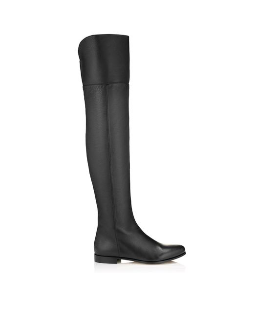 Jimmy Choo   Black Mitty Textured-leather Over-the-knee Boots   Lyst