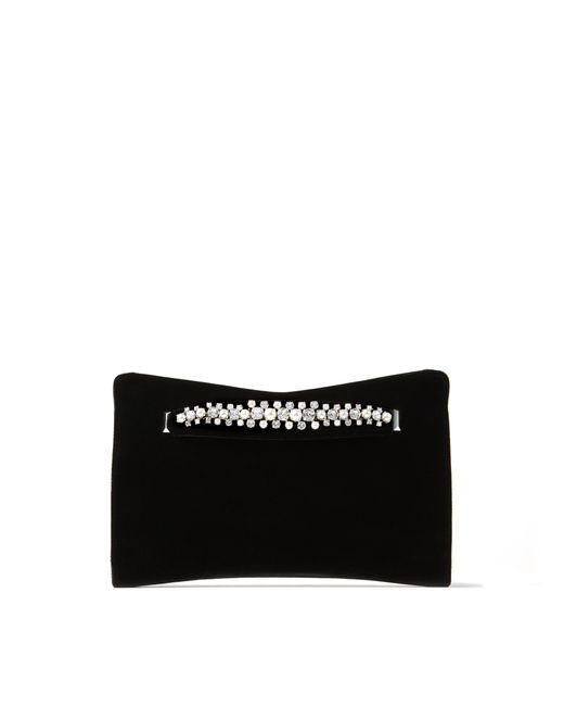 Jimmy Choo Black Venus Faux-pearl And Crystal Velvet Clutch Bag