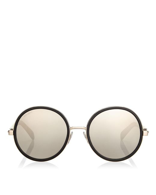 Jimmy Choo - Multicolor Andie Black Acetate Round Framed Sunglasses With Grey Silver Crystal Fabric Detailing - Lyst