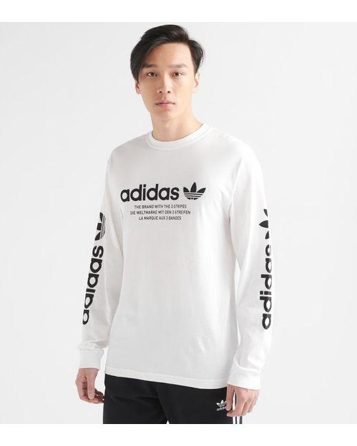 adidas Linear Logo Long Sleeve T shirt in WhiteBlack (White